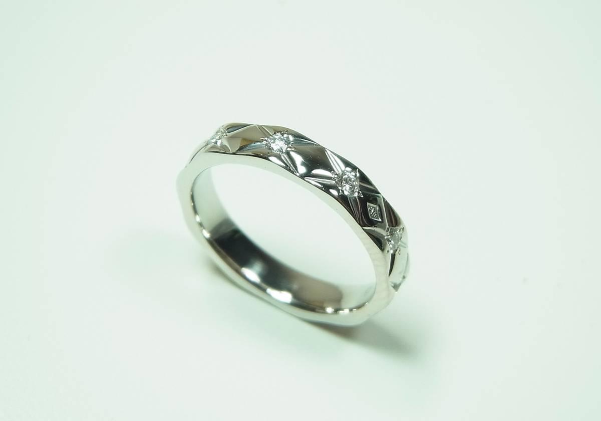 ★研磨仕上げ済み CHANEL シャネル 10Pダイヤ マトラッセリング/指輪 Pt950 #48★