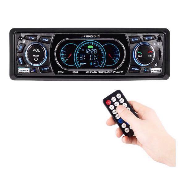 送無!Favoto カーオーディオ FMトランスミッター Bluetooth ハンズフリー リモコン メインユニット 12V車用 SDカード/AUX/ USBメモリー