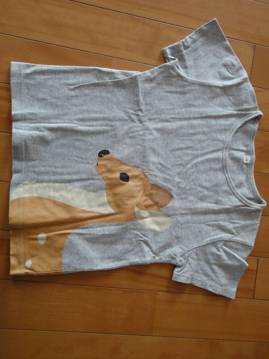 美品・安価☆無印良品・無印・オーガニックコットンプリントTシャツ・キッズ・半袖Tシャツ・半袖・鹿・グレー・120・120☆
