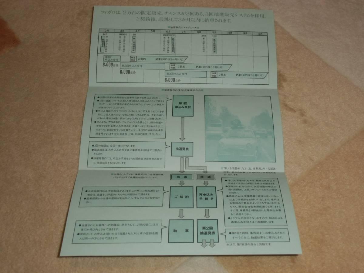【旧車カタログ】 1991年 日産フィガロ 抽選販売システムの案内状付き!_画像2