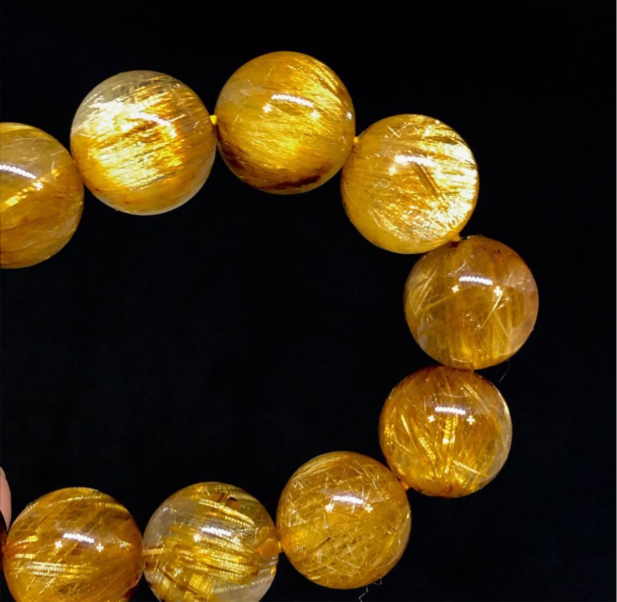 【1円スタート!最落なし】オレンジタイチンルチルクォーツ ブレスレット 14mm 【最高級】【超レア】【美品】15010280_画像8
