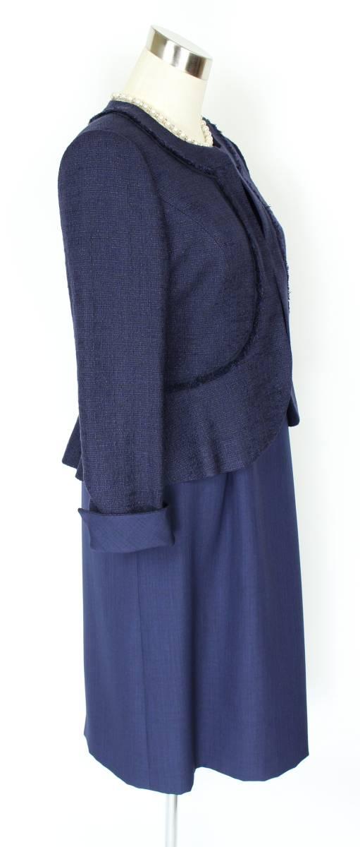 新品 東京ソワール アンサンブル スーツ 9号 紺 ネイビー 結婚式 卒業式 入学式 レディース セットアップ ジャケット ドレス ワンピース_ジャケット+ワンピース
