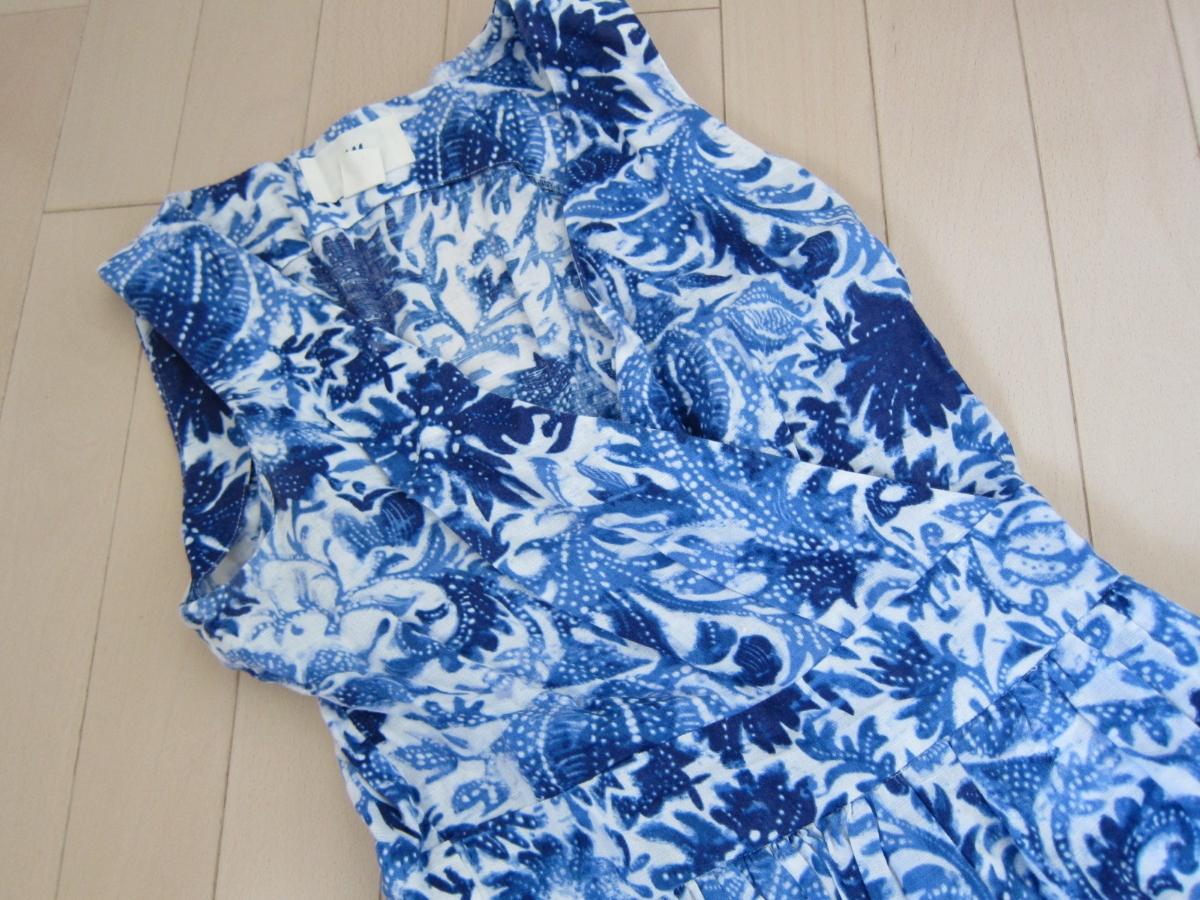 H&M ◆麻&綿素材 ◆清楚 カシュクール風 ワンピース ◆ブルー&ホワイト 34 コットン