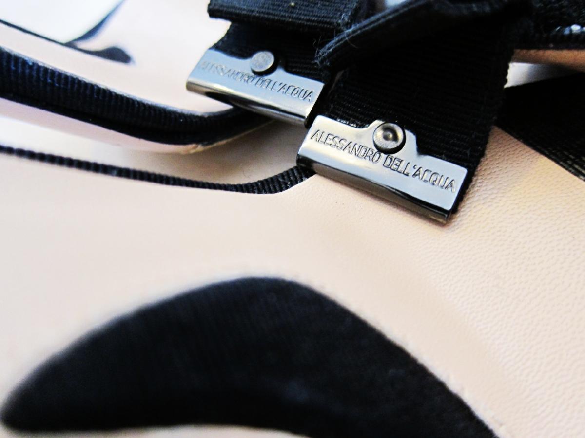 アレッサンドロデラクア◆ビジュー&リボン サンダル ミュール 36 ブラック 黒 アレキサンドラ _画像5