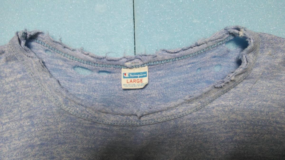 アメリカ古着80年代ビンテージChampionチャンピオントリコタグ染み込みプリント霜降りダメージTシャツ_画像2