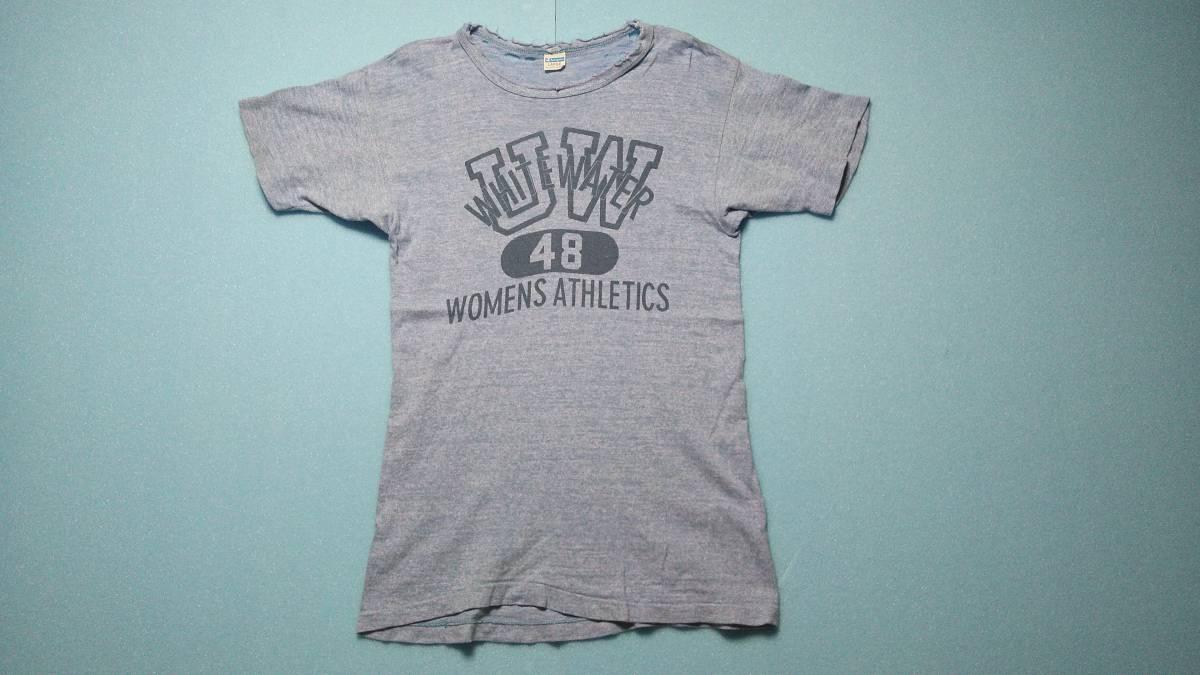 アメリカ古着80年代ビンテージChampionチャンピオントリコタグ染み込みプリント霜降りダメージTシャツ_画像3