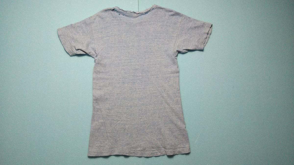 アメリカ古着80年代ビンテージChampionチャンピオントリコタグ染み込みプリント霜降りダメージTシャツ_画像4
