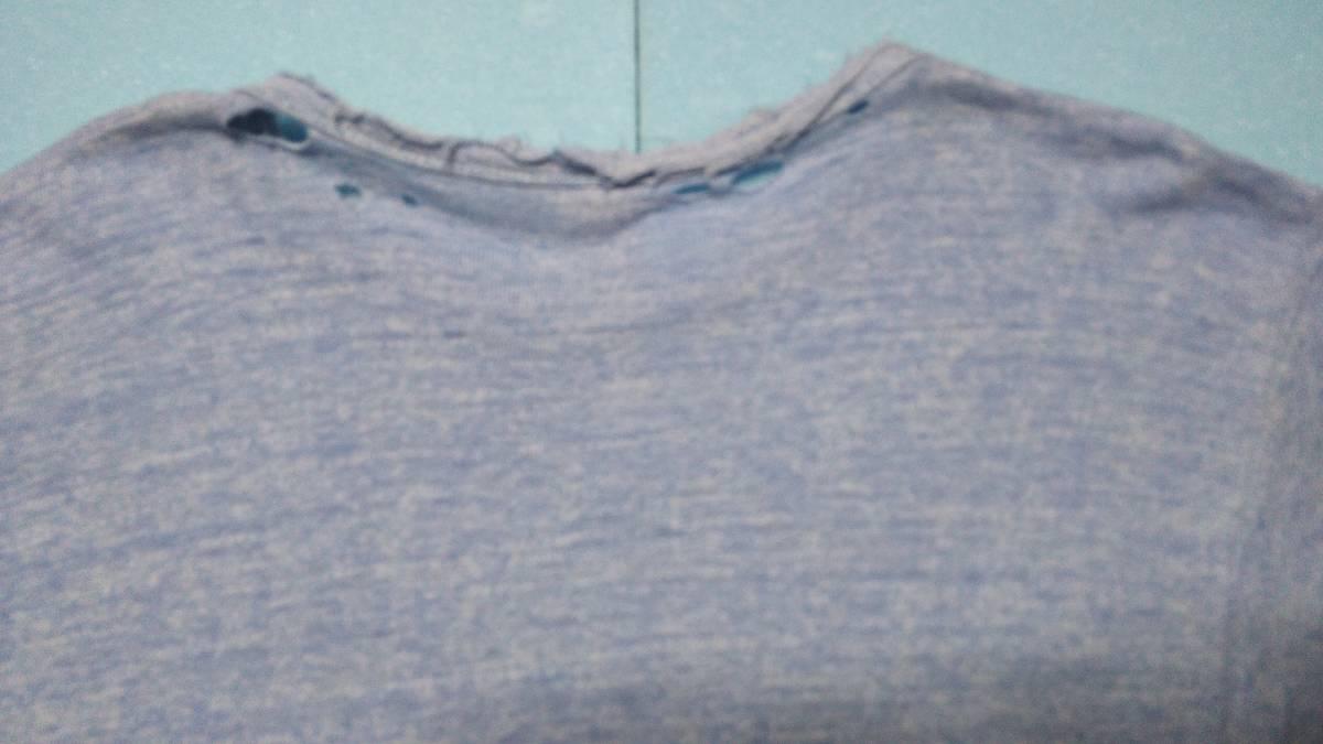 アメリカ古着80年代ビンテージChampionチャンピオントリコタグ染み込みプリント霜降りダメージTシャツ_画像7