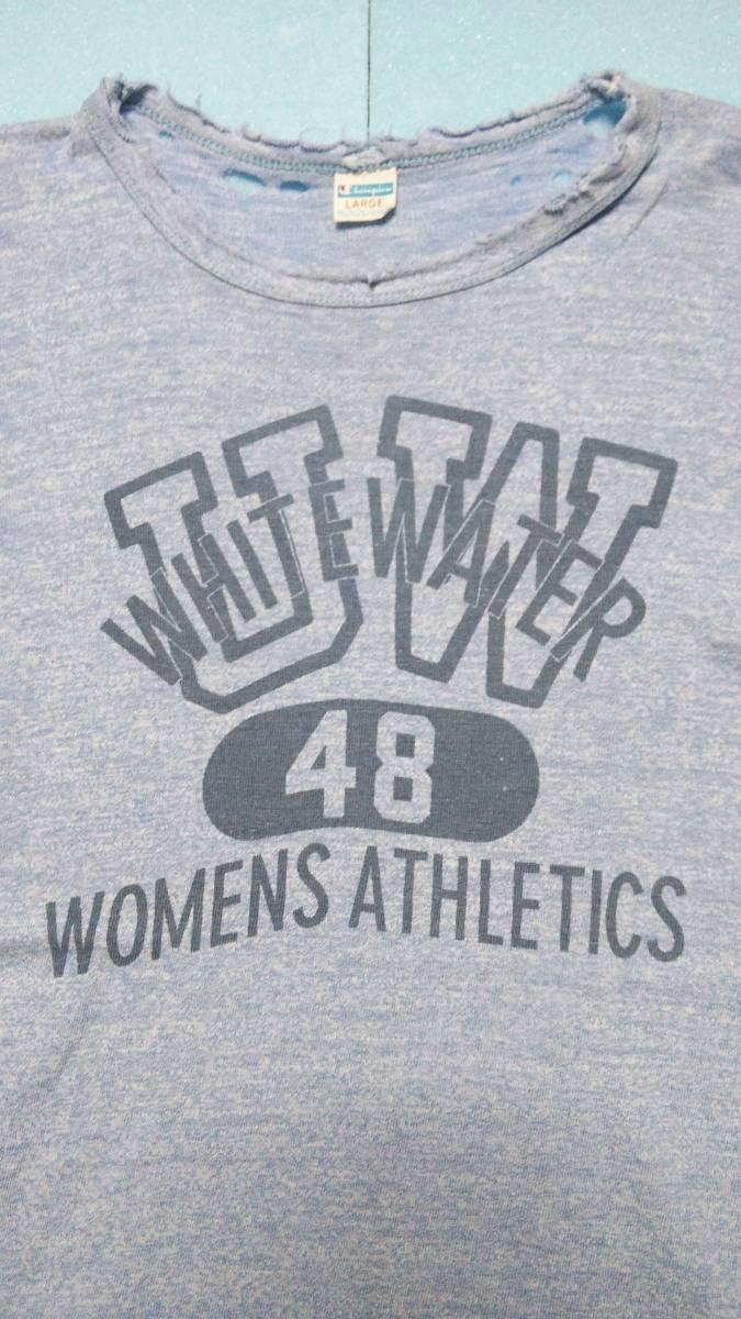 アメリカ古着80年代ビンテージChampionチャンピオントリコタグ染み込みプリント霜降りダメージTシャツ