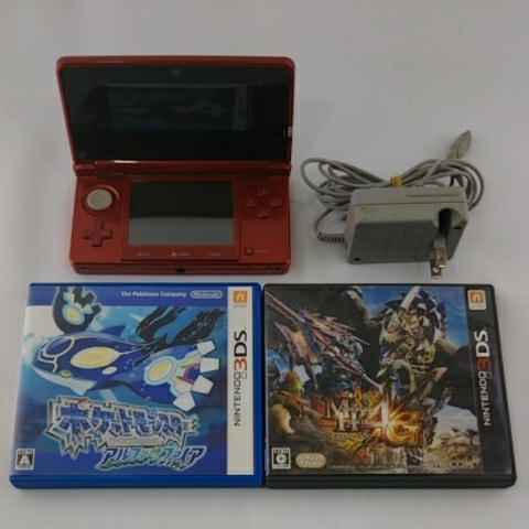 全国一律送料無料 任天堂 3DS メタリックレッド CTR-001 ソフト2本付き 動作OK【即日発送】329か1