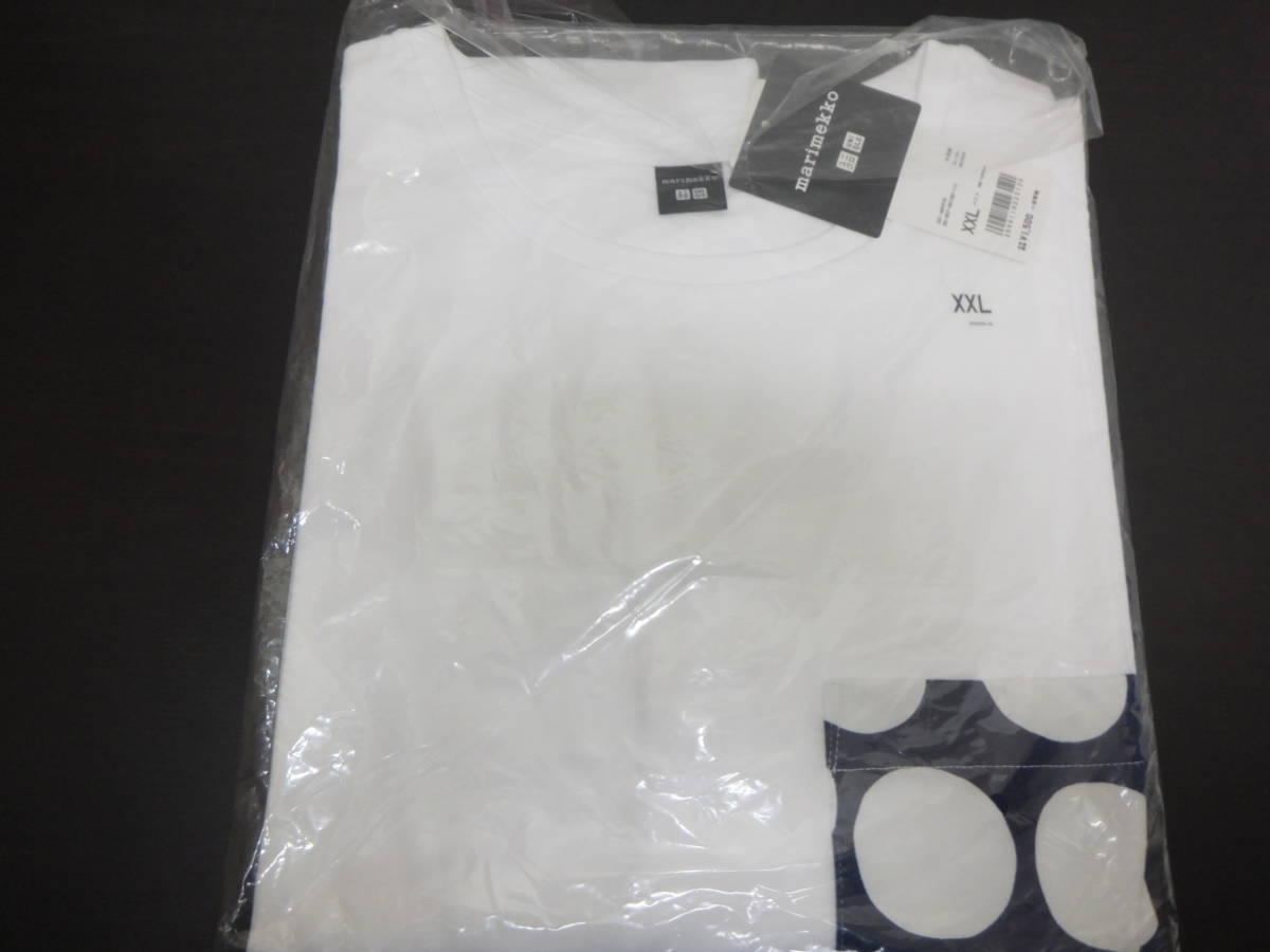 新品 XXL ユニクロ マリメッコ グラフィックT ポケット付きTシャツ 白×ネイビー ドット uniqlo marimekko オンライン限定 水玉 ポケT_画像2