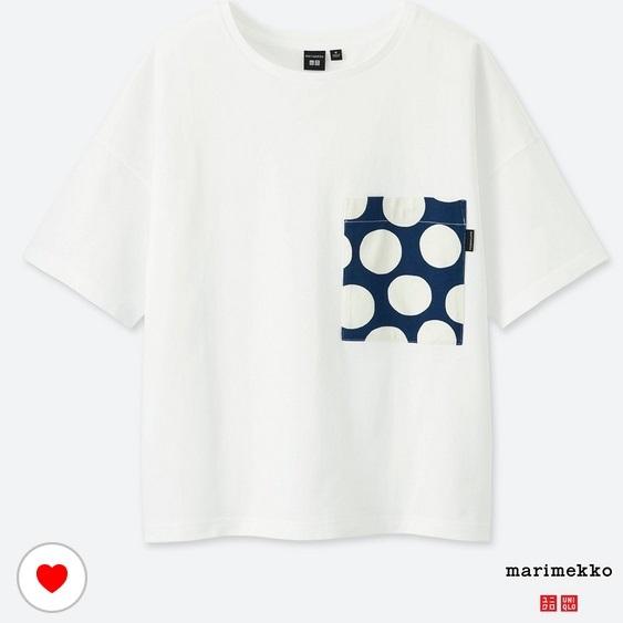 新品 XXL ユニクロ マリメッコ グラフィックT ポケット付きTシャツ 白×ネイビー ドット uniqlo marimekko オンライン限定 水玉 ポケT_画像1