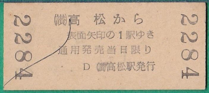 鉄道硬券切符54■(讃)高松→香西/栗林 10円 36-4.20_画像2