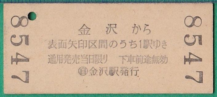硬券切符20■金沢→北安江/小坂神社前/小立野 15円 38-4.20 *バス?_画像2