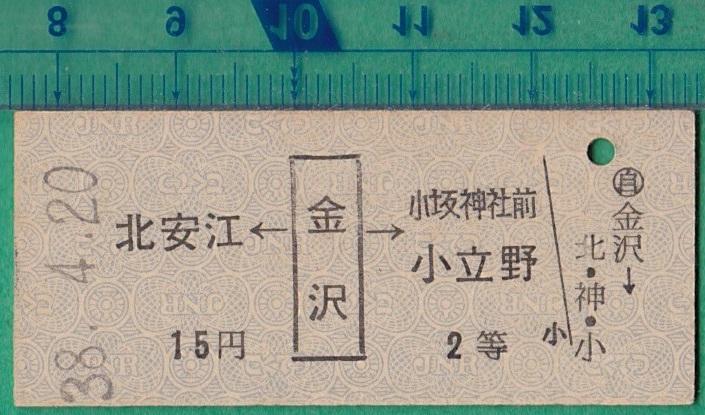 硬券切符20■金沢→北安江/小坂神社前/小立野 15円 38-4.20 *バス?