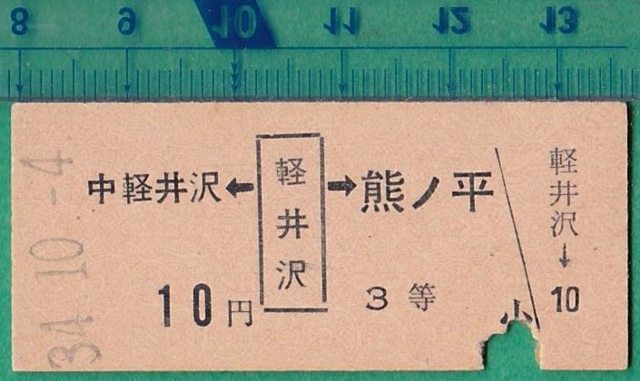 鉄道硬券切符31■軽井沢→中軽井沢/熊ノ平 10円 34-10.4