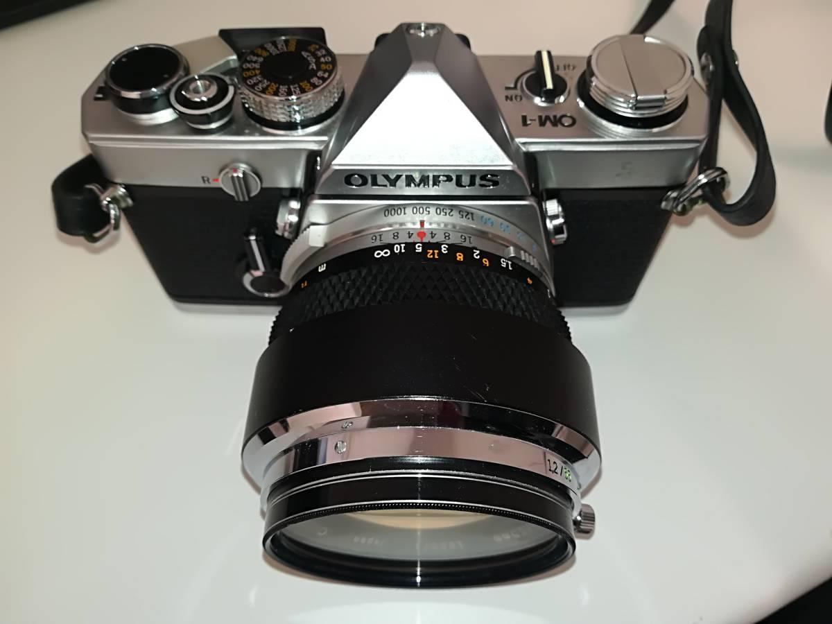 【532】OLYMPUS オリンパス OM-1 ■ G.ZUIKO AUTO-S 1:1.2 f=55mm/ E.ZUIKO AUTO-T 1:2.8 F=100mm レンズ付き ジャンク 1円スタート_画像2