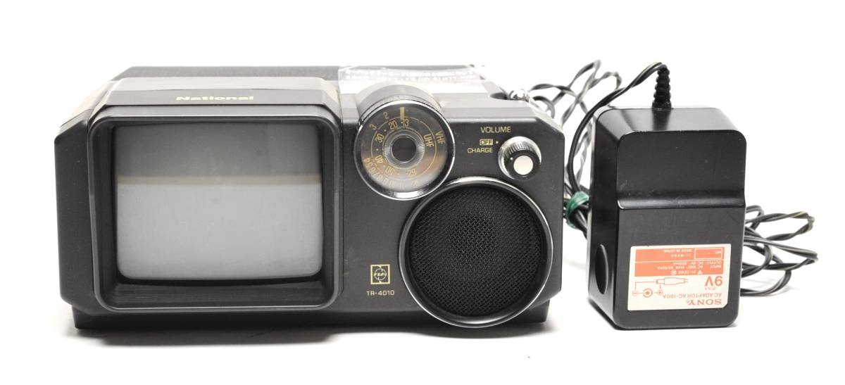 National 白黒テレビ TR-4010 ナショナル 2080年製 ACアダプター付き 通電確認済 78302209