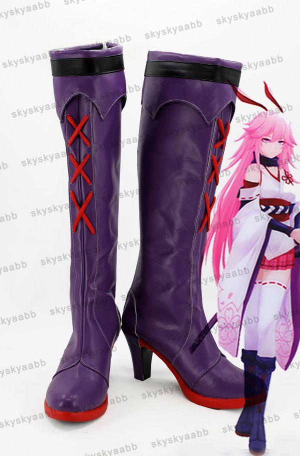 八重桜風 やえさくら 逆神の巫女 コスプレ靴 ブーツ_画像1