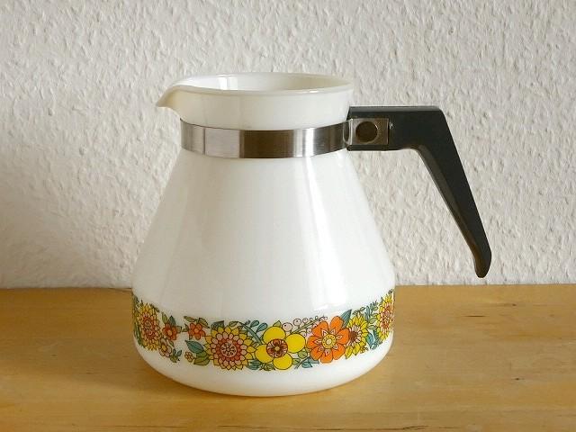 ●○ミルクガラスの花柄ポット SCHOTT MAINZ○●コーヒーポットピッチャーレトロアンティークヴィンテージビンテージ_画像1
