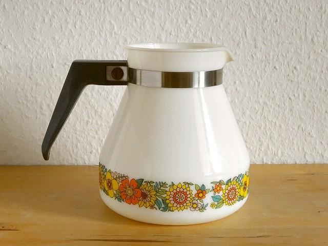 ●○ミルクガラスの花柄ポット SCHOTT MAINZ○●コーヒーポットピッチャーレトロアンティークヴィンテージビンテージ_画像2