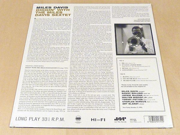 マイルス・デイヴィスDiggin' With The Miles Davis Sextet限定180g盤新品LPボーナス2曲Sonny Rollins Walter Bishop Jr Charles Mingus_画像2