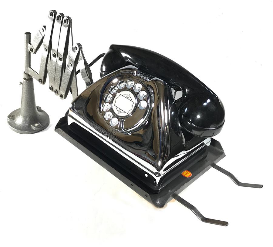 1940'sドイツ製シザー電話機台/ホルダー/バウハウス/シザーランプ/店舗什器/アンティーク/ビンテージ/Gras/Ravel/工業系/テーブル/モダン_画像8