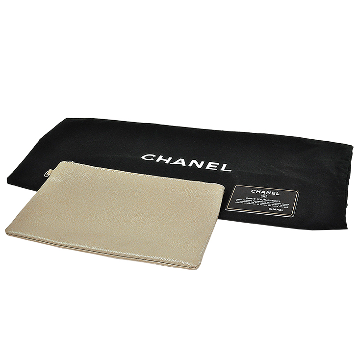 新品・アウトレット! CHANEL/シャネル トートバッグ A92212 キャビアスキン  ベージュ×ブラック ショルダーバッグ 送料込_画像9