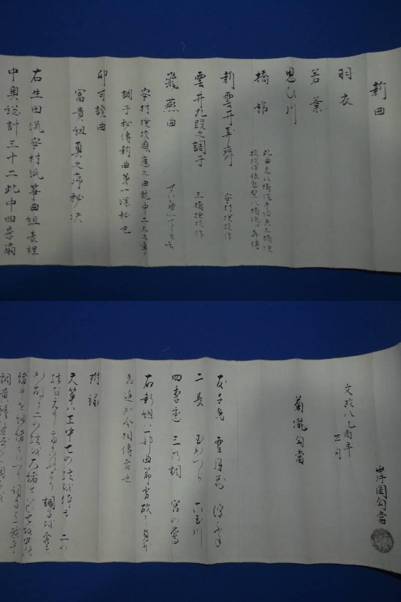 江戸期? 「文楽三味線の巻物」 免許皆伝 鶴澤清八 検校写_画像6