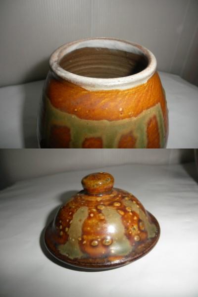 @@ 九州の焼きもの 小鹿田焼(おんたやき)蓋付 壺 壷 茶陶 つぼ 茶道具 古民具 古陶器  _画像10