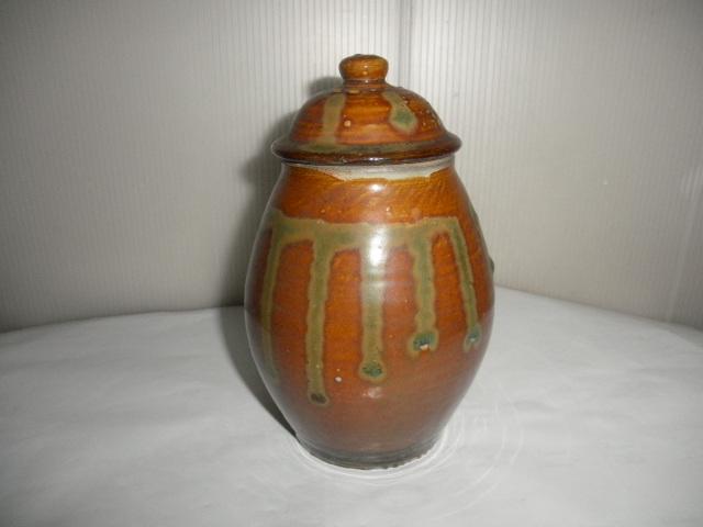 @@ 九州の焼きもの 小鹿田焼(おんたやき)蓋付 壺 壷 茶陶 つぼ 茶道具 古民具 古陶器  _画像3