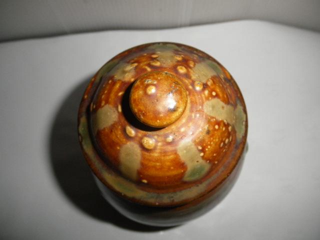 @@ 九州の焼きもの 小鹿田焼(おんたやき)蓋付 壺 壷 茶陶 つぼ 茶道具 古民具 古陶器  _画像5