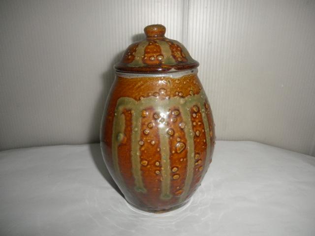 @@ 九州の焼きもの 小鹿田焼(おんたやき)蓋付 壺 壷 茶陶 つぼ 茶道具 古民具 古陶器  _画像1