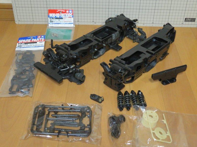 ☆タミヤ TL-01シャーシ・ジャンク! 未使用一部加工済みシャーシ・サスアーム・ボディマウント・スピードギア・軽量キングピン付き