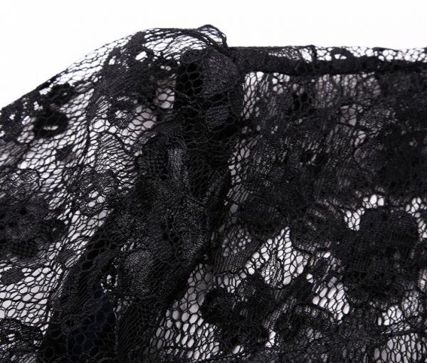大人上品7分袖 花柄刺繍レース ワンピース ブラック結婚式二次会 謝恩会 披露宴  お呼ばれ パーティー ドレス_画像3