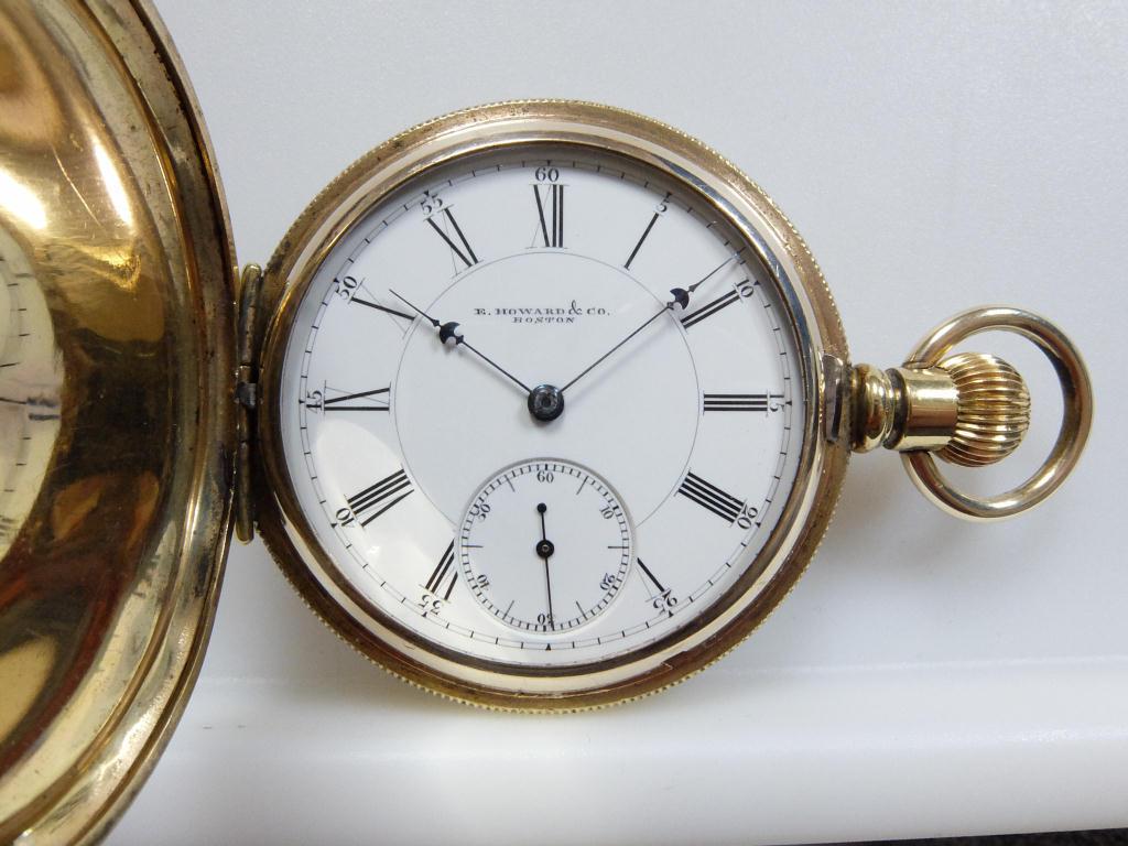 オールドハワード IV(4型) 最上級ニッケルADJUSTED(鹿印相当) 1883年 IV型最末期モデル 金張りフルハンターケース 分解清掃済み