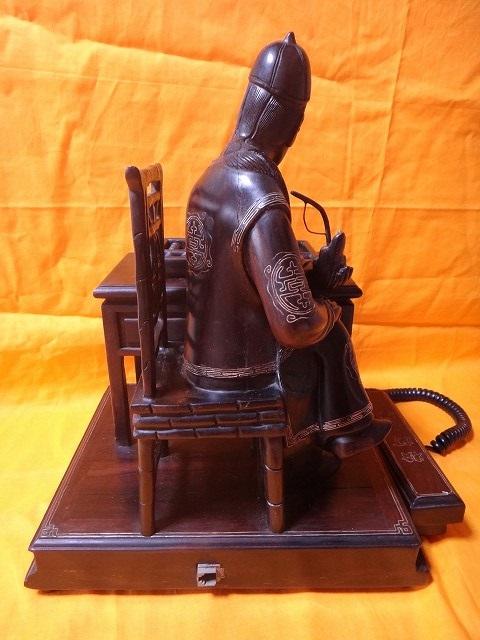レトロ調 木製電話機 プッシュ式 プッシュホン 共箱付 電話機作動問題無し通話確認済_画像7