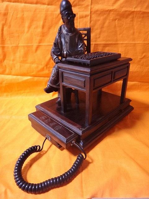 レトロ調 木製電話機 プッシュ式 プッシュホン 共箱付 電話機作動問題無し通話確認済_画像9
