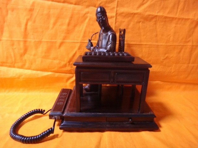 レトロ調 木製電話機 プッシュ式 プッシュホン 共箱付 電話機作動問題無し通話確認済
