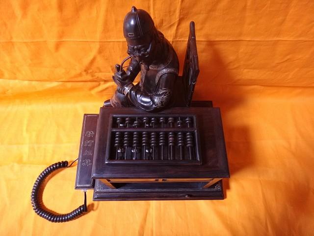 レトロ調 木製電話機 プッシュ式 プッシュホン 共箱付 電話機作動問題無し通話確認済_画像2
