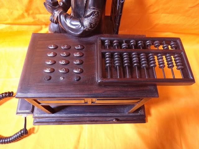 レトロ調 木製電話機 プッシュ式 プッシュホン 共箱付 電話機作動問題無し通話確認済_画像3