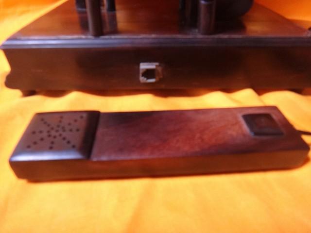 レトロ調 木製電話機 プッシュ式 プッシュホン 共箱付 電話機作動問題無し通話確認済_画像10
