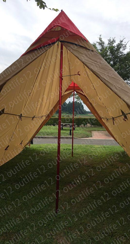 限定数限り☆ピンパビ パビリオン風 大型テント スカート付 ポールエンドキャップ4個付 アルミ自在金具8個付 荷造りバンド2本_画像3