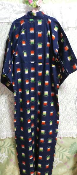 鉄紺色灯模様/和服/着物 Iron navy color/Japanese clothes/kimono_画像3