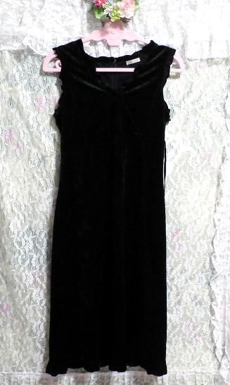 黒の光沢ノースリーブ紐付きワンピース Black luster sleeveless tied dress_画像2