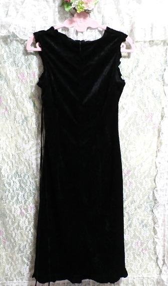 黒の光沢ノースリーブ紐付きワンピース Black luster sleeveless tied dress_画像3