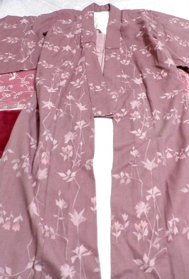紫暗紅色紅葉柄/和服/着物 Purple dark red autumn leaves pattern/Japanese clothes/kimono_画像4