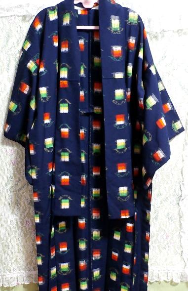 鉄紺色灯模様/和服/着物 Iron navy color/Japanese clothes/kimono_画像4