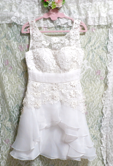 Dorisqueen 純白ウェディングドレス/レースフリルノースリーブワンピース White wedding dress/lace frill sleeveless dress_画像2