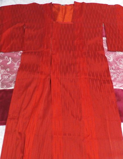 すずのき135cm赤深緋色半天羽織/和服/着物 Red deep scarlet coat/Japanese clothing/kimono_画像3
